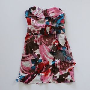 Express Pink Strapless Ruffle Mini Cocktail Dress